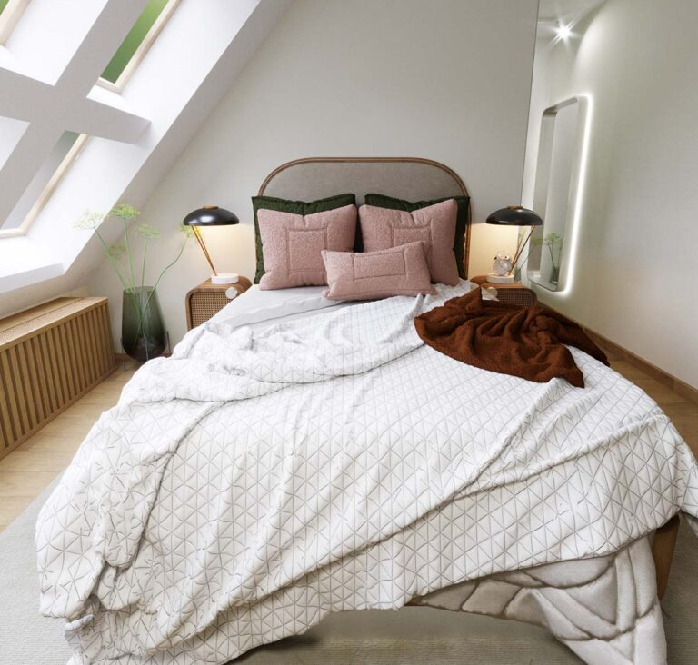 king size bed with white duvet