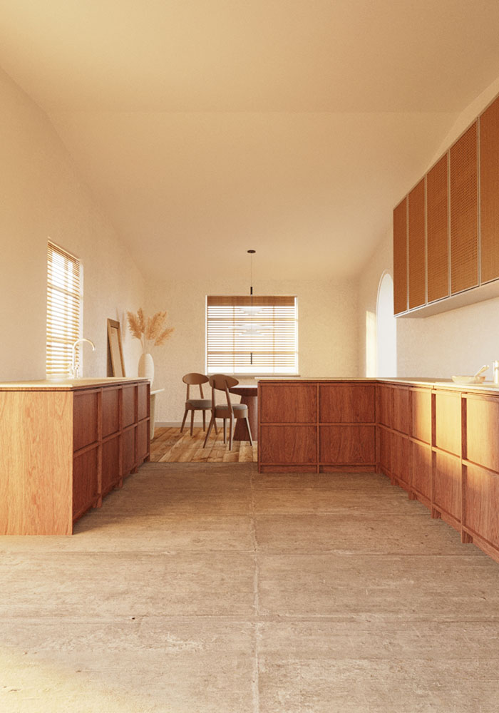 view of the wooden kitchen
